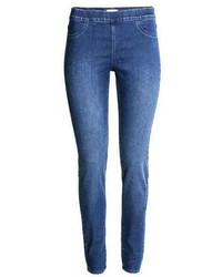 blaue Jeansleggings