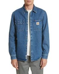 blaue Jeansshirtjacke