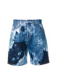 blaue Mit Batikmuster Jeansshorts von MSGM