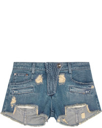 blaue Jeansshorts mit Destroyed-Effekten von Balmain