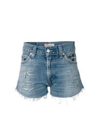 blaue Jeansshorts mit Destroyed-Effekten von Chiara Ferragni