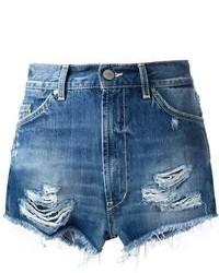 blaue Jeansshorts mit Destroyed-Effekten von Dondup