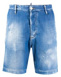 blaue Jeansshorts mit Destroyed-Effekten von DSQUARED2