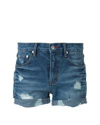 blaue Jeansshorts mit Destroyed-Effekten von GUILD PRIME