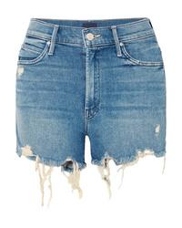 blaue Jeansshorts mit Destroyed-Effekten von Mother
