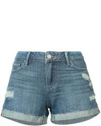 blaue Jeansshorts mit Destroyed-Effekten von Paige