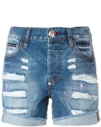 blaue Jeansshorts mit Destroyed-Effekten von Philipp Plein