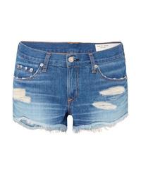blaue Jeansshorts mit Destroyed-Effekten von Rag & Bone