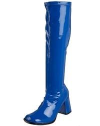 blaue kniehohe Stiefel aus Leder