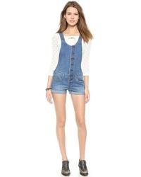 blaue kurze Latzhose aus Jeans von Free People