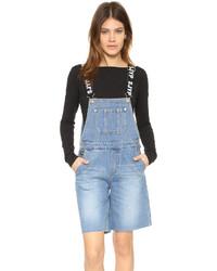 blaue kurze Latzhose aus Jeans von Sjyp