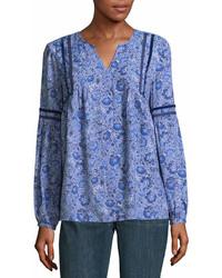 blaue Langarmbluse mit Paisley-Muster