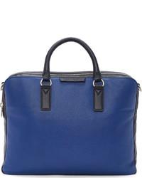 blaue Leder Aktentasche
