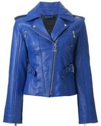 blaue Leder Bikerjacke