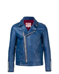 blaue Leder Bikerjacke von Addict Clothes Japan