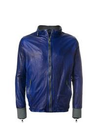 blaue Leder Bikerjacke von Giorgio Brato