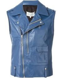 blaue Leder Bikerjacke von Maison Margiela