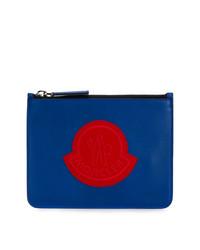 blaue Leder Clutch Handtasche von Moncler