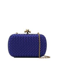 blaue Leder Clutch von Bottega Veneta