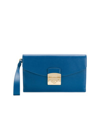 blaue Leder Clutch von Furla