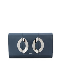 blaue Leder Clutch von Perrin Paris