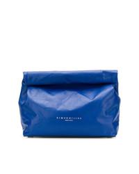blaue Leder Clutch von Simon Miller