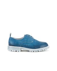 blaue Leder Derby Schuhe von Diego Vanassibara