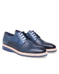 blaue Leder Derby Schuhe von Greyder