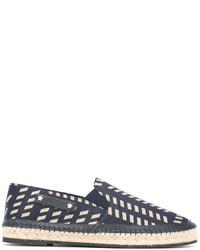 blaue Leder Espadrilles mit geometrischem Muster von Versace