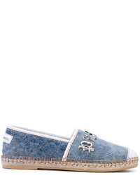 blaue Leder Espadrilles von Philipp Plein