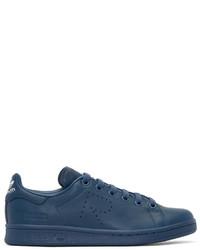 blaue Leder niedrige Sneakers