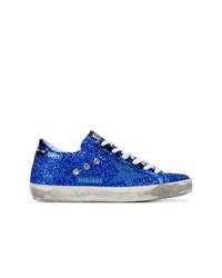 blaue Leder niedrige Sneakers von Golden Goose Deluxe Brand