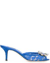 blaue Leder Pantoletten von Dolce & Gabbana