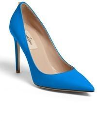 blaue Leder Pumps