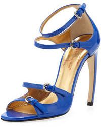 blaue Leder Sandaletten