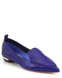 blaue Leder Slipper