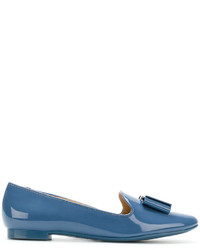 blaue Leder Slipper von Salvatore Ferragamo