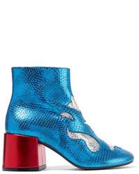 blaue Leder Stiefeletten mit Schlangenmuster von MM6 MAISON MARGIELA