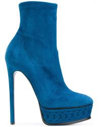 blaue Leder Stiefeletten von Casadei