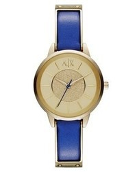 blaue Leder Uhr