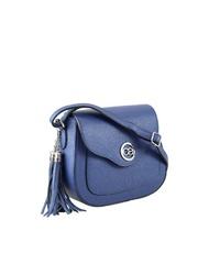 blaue Leder Umhängetasche von COLLEZIONE ALESSANDRO