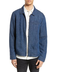 blaue Leinen Shirtjacke