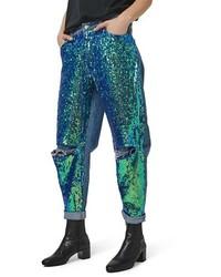 blaue Paillette Boyfriend Jeans