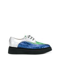 blaue Pailletten Oxford Schuhe von N°21