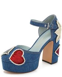 blaue Pailletten Pumps von Marc Jacobs