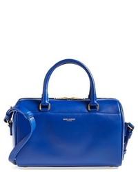 blaue Satchel-Tasche aus Leder