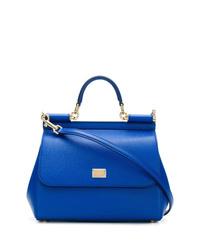 blaue Satchel-Tasche aus Leder von Dolce & Gabbana