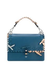 blaue Satchel-Tasche aus Leder von Fendi