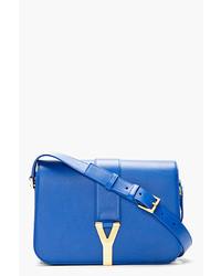 blaue Satchel-Tasche aus Leder von Saint Laurent