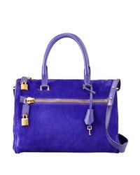 blaue Satchel-Tasche aus Wildleder